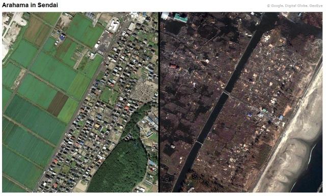Vorher-Nachher Satelliten-Bild Sendai